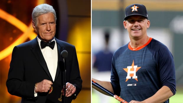 Split image of Alex Trebek and AJ Hinch