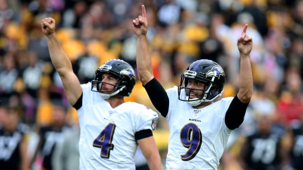 Oct 6, 2019; Pittsburgh, PA, USA;  Baltimore Ravens punter Sam Koch (4) and kicker Justin Tucker (9) react after a game winning field goal by Tucker to defeat the Pittsburgh Steelers in overtime at Heinz Field.  Mandatory Credit: Charles LeClaire-USA TODAY Sports