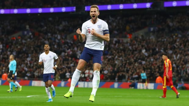 Harry Kane scored a first-half hat trick as England defeated Montenegro.