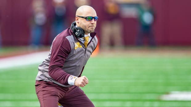 Nov 9, 2019; Minneapolis, MN, USA; Minnesota Golden Gophers head coach P.J. Fleck looks on after a touchdown in the first half against the Penn State Nittany Lions at TCF Bank Stadium. Mandatory Credit: Jesse Johnson-USA TODAY Sports