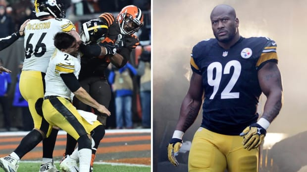 Split image of Myles Garrett-Mason Rudolph incident and former Steelers LB James Harrison