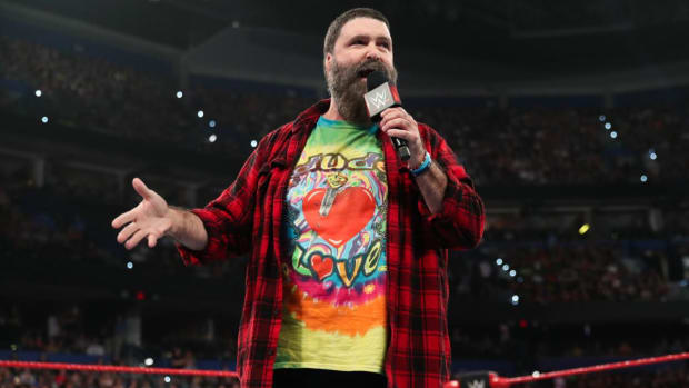 WWE's Mick Foley in the ring during Raw Reunion