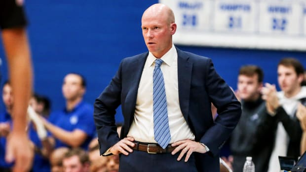 Nov 9, 2019; South Orange, NJ, USA; Seton Hall Pirates head coach Kevin Willard reacts during the first half against the Stony Brook Seawolves at Walsh Gymnasium. Mandatory Credit: Vincent Carchietta-USA TODAY Sports