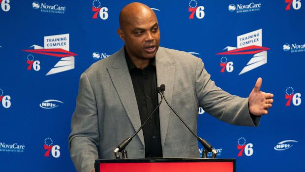 Charles Barkley speaks during a press conference for the 76ers