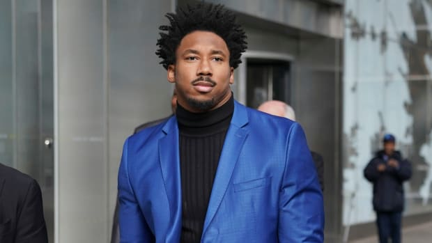 Myles Garrett appears in New York City to appeal his indefinite suspension by the NFL.