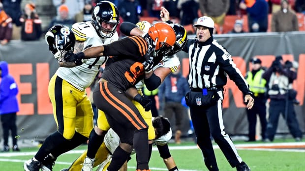 Myles Garrett rips Mason Rudolph's helmet during the Thursday Night contest against the Pittsburgh Steelers.