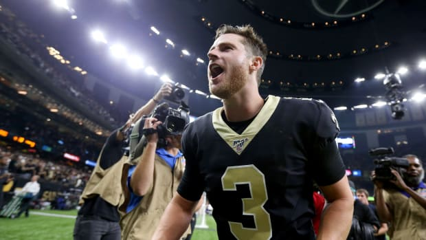Sep 9, 2019; New Orleans, LA, USA; New Orleans Saints kicker Wil Lutz (3) screams as he runs from the field after kicking a game-wining field goal against the Houston Texans at the Mercedes-Benz Superdome. Mandatory Credit: Chuck Cook-USA TODAY Sports