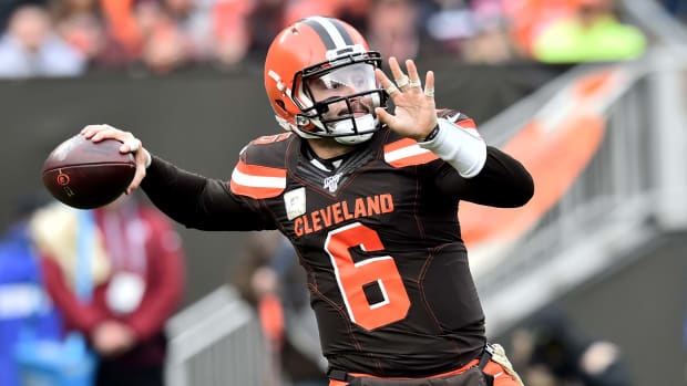 Nov 10, 2019; Cleveland, OH, USA; Cleveland Browns quarterback Baker Mayfield (6) throws a pass during the first half against the Buffalo Bills at FirstEnergy Stadium. Mandatory Credit: Ken Blaze-USA TODAY Sports