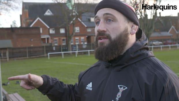 Harlequins rugby prop Joe Marler gives an interview