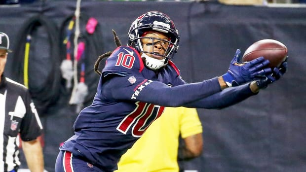 Nov 21, 2019; Houston, TX, USA; Houston Texans wide receiver DeAndre Hopkins (10) makes a reception for a touchdown as Indianapolis Colts cornerback Pierre Desir (35) defends during the fourth quarter at NRG Stadium. Mandatory Credit: Troy Taormina-USA TODAY Sports