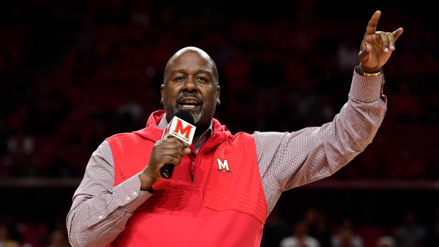 Maryland Terrapins head football coach Mike Locksley speaks to the crowd during half time of the men's basketball game against the Loyola (Md) Greyhounds at XFINITY Center.