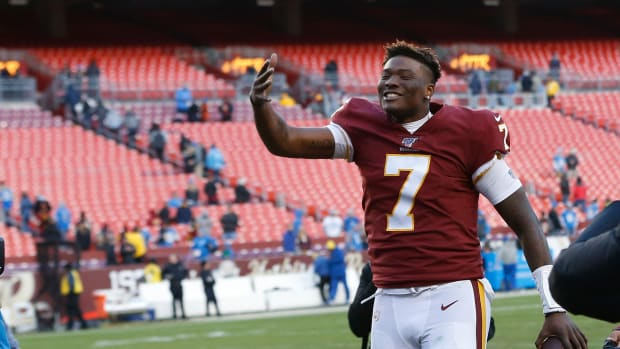 Dwayne Haskins was taking selfies with fans during the final snap of the Redskins' victory over the Lions.