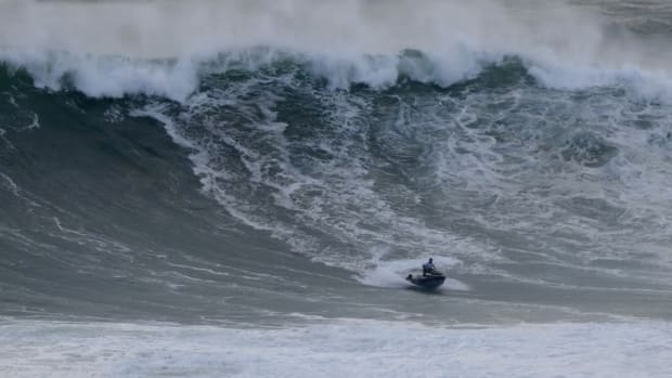 "Surfer Lucas ""Chumbo"" Chianca is rescued from a wave off the coast of Nazaré, Portugal"