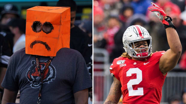 Split image of Cincinnati Bengals fan and Ohio State's Chase Young