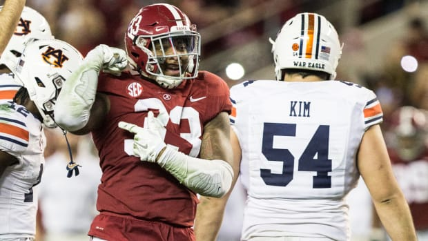 Anfernee Jennings during Alabama's 52-21 victory over Auburn in 2018
