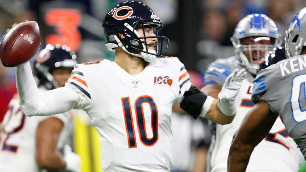 Mitchell Trubisky three touchdowns power Bears' 24-20 win vs. Lions on Thanksgiving Day.