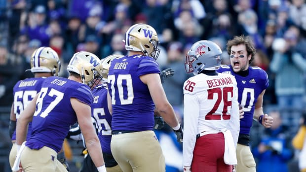 The UW quarterback was fired up during the Huskies' 31-13 over Washington State in the Apple Cup.