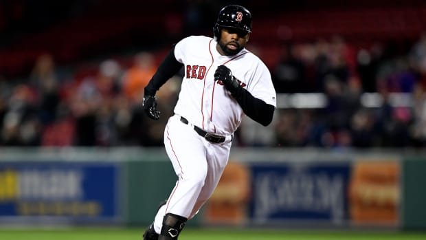 Jackie Bradley Jr. rounds the bases in a game at Fenway Park against the San Francisco Giants.