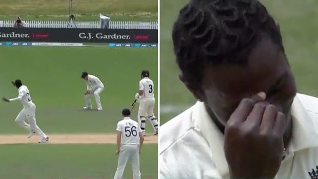 Jofra Archer reacts to Joe Denly's drop in England-New Zealand test cricket match