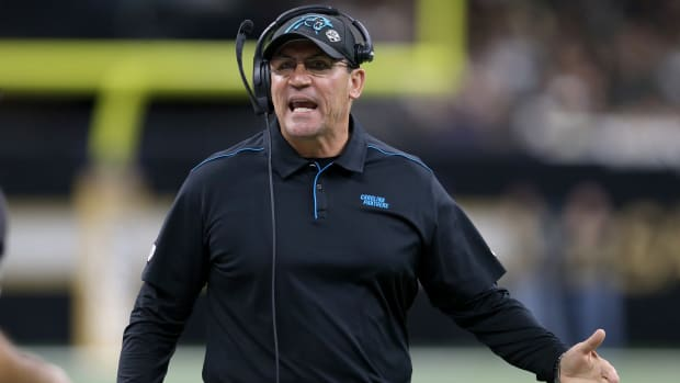Carolina Panthers head coach Ron Rivera in the second quarter against the New Orleans Saints at the Mercedes-Benz Superdome.