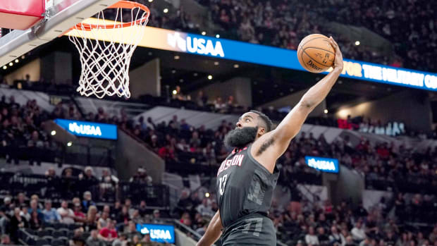 Dec 3, 2019; San Antonio, TX, USA; Houston Rockets guard James Harden (13) goes up for a dunk in the second half against the San Antonio Spurs at the AT&T Center. Mandatory Credit: Daniel Dunn-USA TODAY Sports