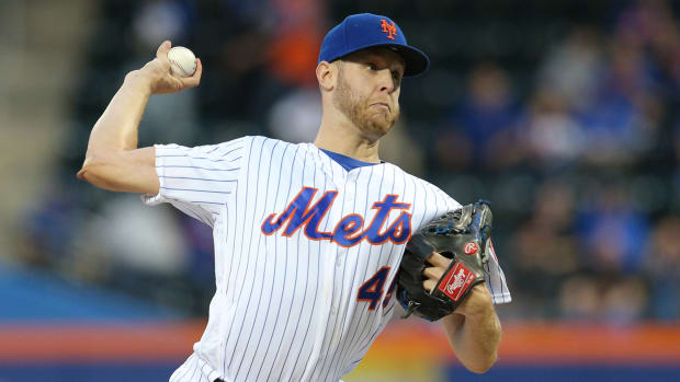 May 10, 2019; New York City, NY, USA; New York Mets starting pitcher Zack Wheeler (45) pitches against the Miami Marlins during the first inning at Citi Field. Mandatory Credit: Brad Penner-USA TODAY Sports