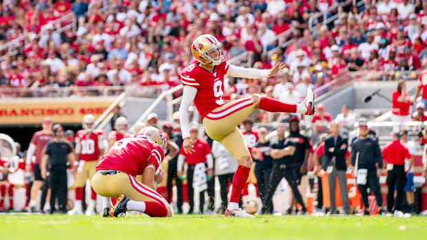 September 22, 2019; Santa Clara, CA, USA; San Francisco 49ers kicker Robbie Gould (9) kicks the football out of the hold of punter Mitch Wishnowsky (6) during the second quarter against the Pittsburgh Steelers at Levi's Stadium. Mandatory Credit: Kyle Terada-USA TODAY Sports