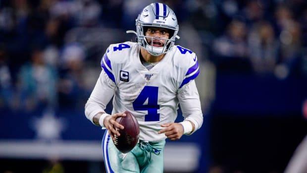 Nov 28, 2019; Arlington, TX, USA; Dallas Cowboys quarterback Dak Prescott (4) in action during the game between the Bills and Cowboys at AT&T Stadium. Mandatory Credit: Jerome Miron-USA TODAY Sports