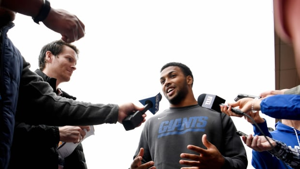 May 4, 2019; East Rutherford, NJ, USA; New York Giants cornerback Julian Love (37) speaks to the media during rookie minicamp at Quest Diagnostics Training Center.