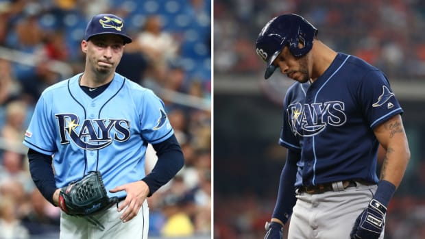 Split image of the Rays' Blake Snell and Tommy Pham