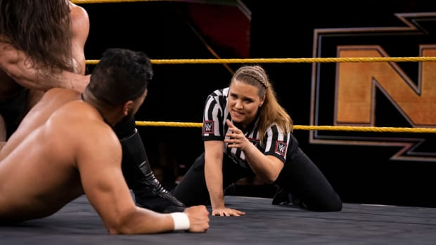 WWE referee Jessika Carr in a match