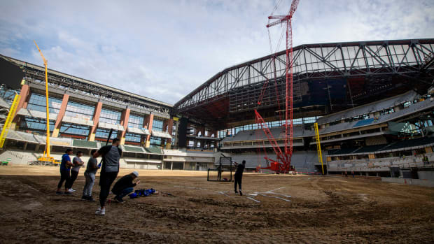 A fire broke out at Globe Life Field, the Texas Rangers' park that is still under construction.