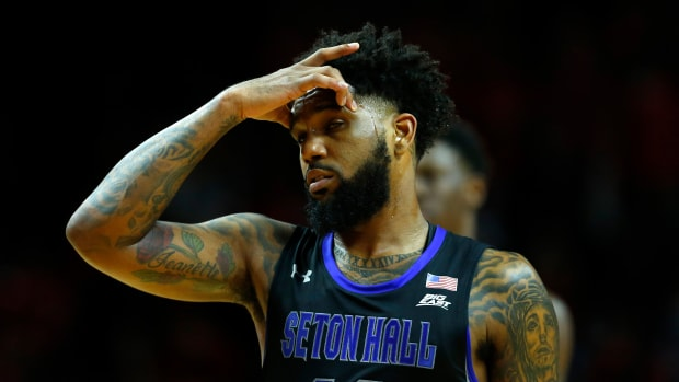 Myles Powell suffered a concussion in Seton Hall's game against Rutgers.