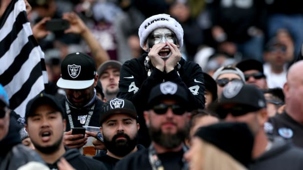 Raiders fans at team's last game in Oakland