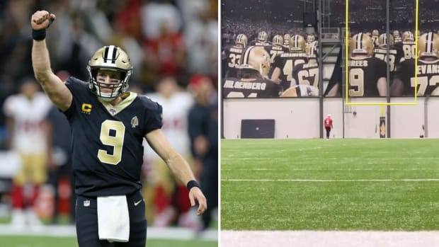 Saints QB Drew Brees in the game and on the practice field