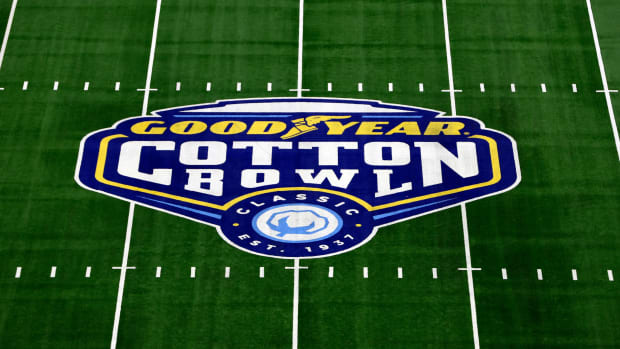 The Goodyear Cotton Bowl college football game logo at midfield