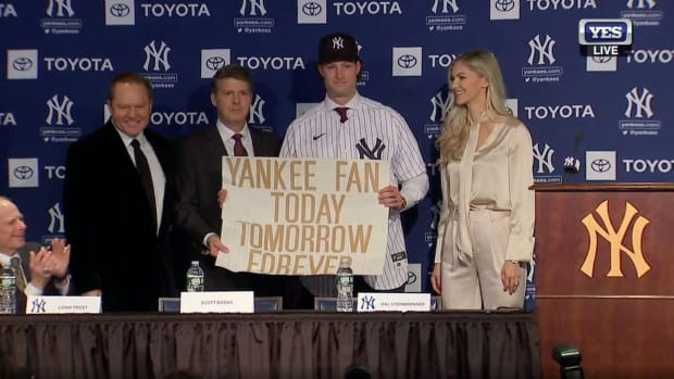 Yankees pitcher Gerrit Cole with sign from 2001 World Series