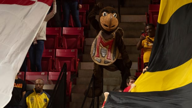 Maryland Terrapins mascot preforms during the second half of the game against the Oakland Golden Grizzlies at XFINITY Center.