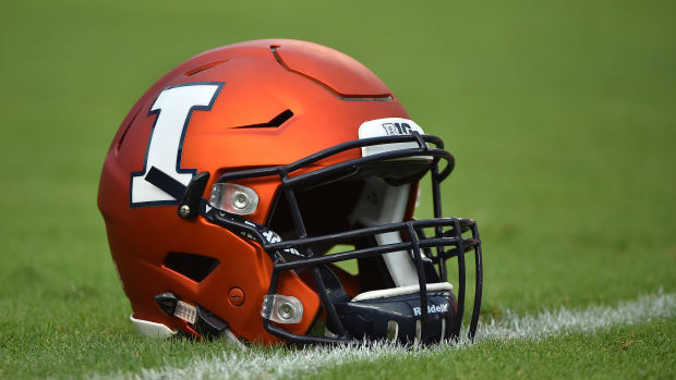 A general view of a Illinois helmet on the field prior to the game between the South Florida Bulls and the Illinois Fighting Illini at Raymond James Stadium.