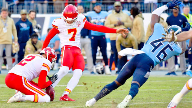Nov 10, 2019; Nashville, TN, USA; Tennessee Titans defensive back Joshua Kalu (46) blocks a field goal attempt by Kansas City Chiefs kicker Harrison Butker (7) to win the game 35-32 during the second half at Nissan Stadium. Mandatory Credit: Jim Brown-USA TODAY Sports