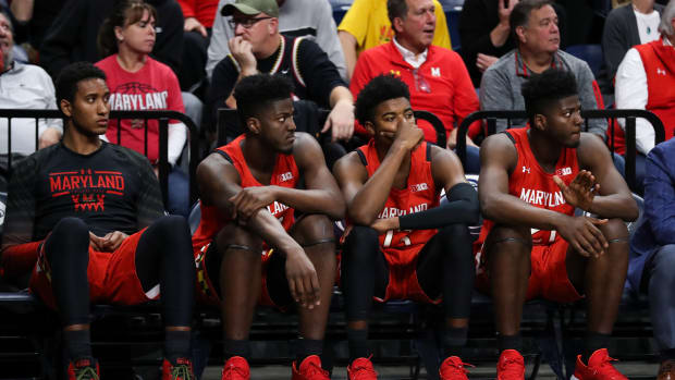 Maryland Terrapin players look on from the bench with seconds left in the second half against the Maryland Terrapins at Bryce Jordan Center. Penn State defeated Maryland 76-69.