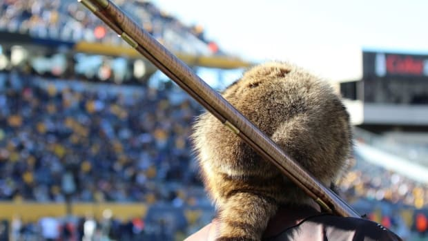 West Virginia University Mascot Tim Eades looking over Mountaineer Field.
