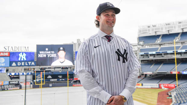 Gerrit Cole is introduced at Yankee Stadium after signing as free agent