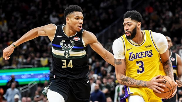 Dec 19, 2019; Milwaukee, WI, USA;  Los Angeles Lakers forward Anthony Davis (3) drives for the basket against Milwaukee Bucks forward Giannis Antetokounmpo (34) in the fourth quarter at Fiserv Forum. Mandatory Credit: Benny Sieu-USA TODAY Sports