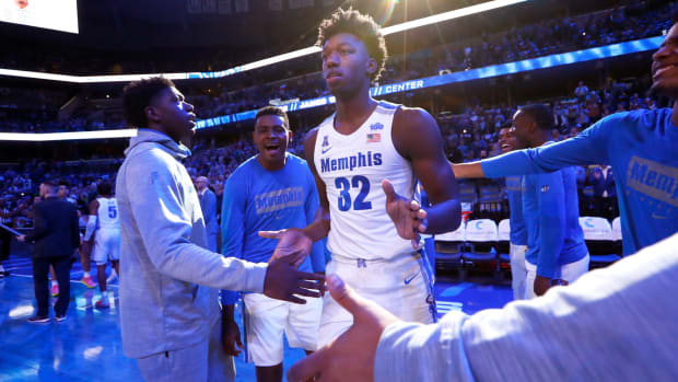 Memphis freshman star James Wiseman takes the court before a game against South Carolina State.