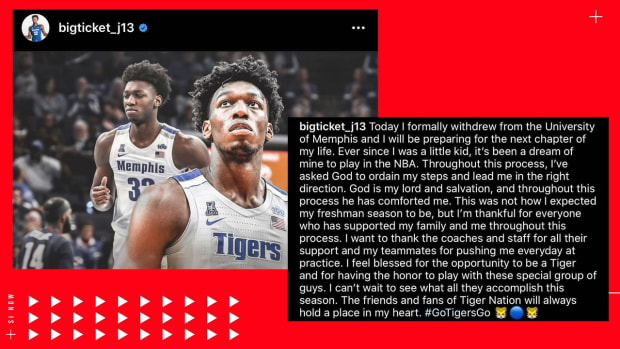 James Wiseman Announces Withdrawal From Memphis