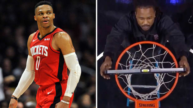 Rockets' Russell Westbrook asks for rim to be checked vs Clippers