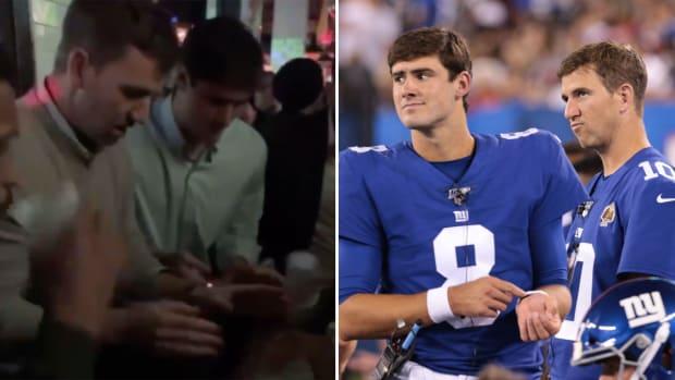 Eli Manning and Daniel Jones play flip cup after Giants beat Redskins