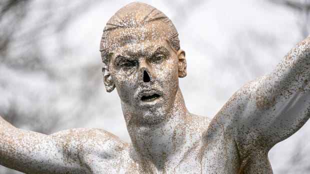 Zlatan Ibrahimovic's statue in Sweden