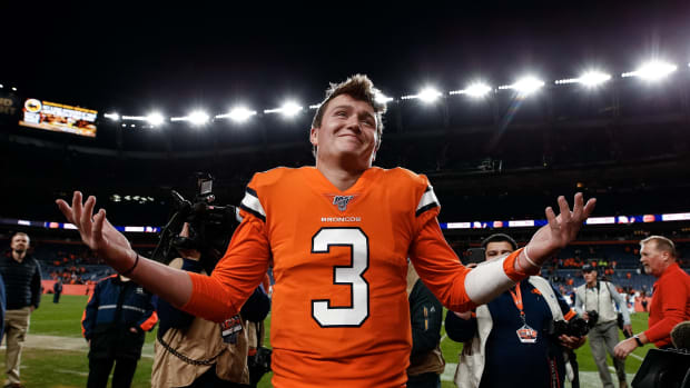 Denver Broncos quarterback Drew Lock (3) reacts after a game against the Detroit Lions at Empower Field at Mile High.